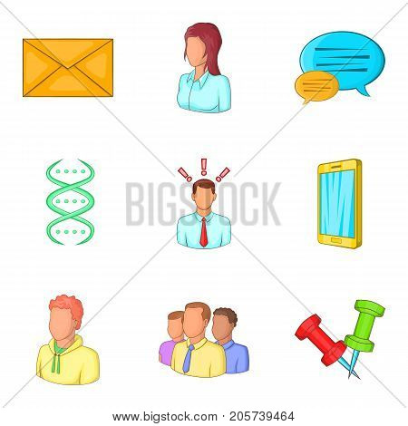 Young professional icons set. Cartoon set of 9 young professional vector icons for web isolated on white background