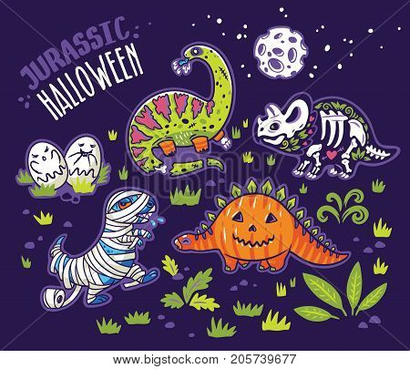 Halloween poster design with dinosaurs, set of characters, zombie, pumpkin, skeleton, mummy and ghosts. Vector illustration