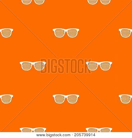 Black pinhole glasses pattern repeat seamless in orange color for any design. Vector geometric illustration