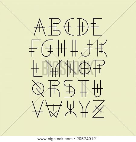 Modern uppercase geometric thin line font in medieval style. For music album covers,  hipster posters.