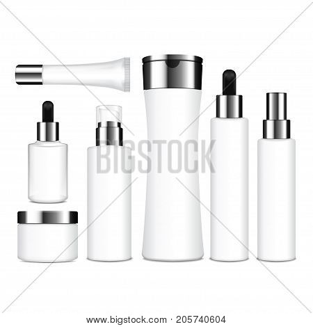Realistic cosmetic white bottles. Vector containers, tubes, sashet for cream, balsam, lotion, gel, shampoo, foundation cream. 3d Illustration for your design