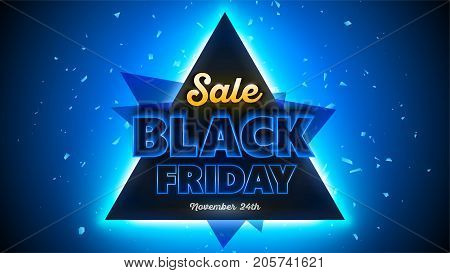 Black Friday sales background 16x9 template special offer end of season. Vector illustration
