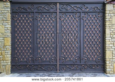 Iron Gate Decorated With The Forged Ornaments