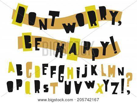 Vector uppercase modern alphabet. Cut out paper festive font.