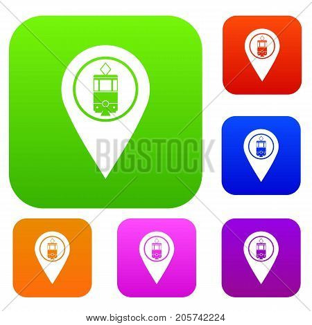 Geo tag with tram sign set icon color in flat style isolated on white. Collection sings vector illustration