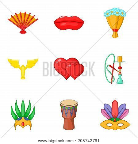 Rite icons set. Cartoon set of 9 rite vector icons for web isolated on white background