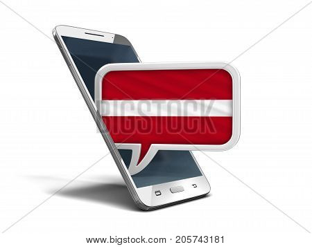3d illustration. Touchscreen smartphone and Speech bubble with Latvian flag. Image with clipping path