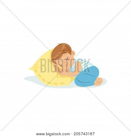 Cute little boy sleeping on a pillow cartoon character, adorable sleeping child vector illustration isolated on a white background