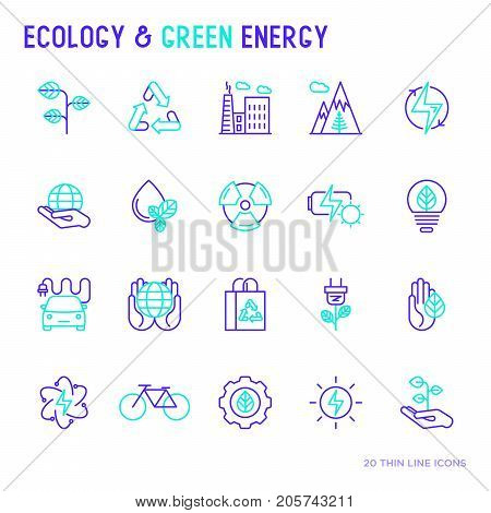 Ecology and green energy thin bicolor line icons for environmental, recycling, renewable energy, nature. Modern vector illustration. poster