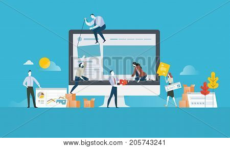 Web design. Flat design concept for website and app design and development. Vector illustration concept for web banner, business presentation, advertising material.