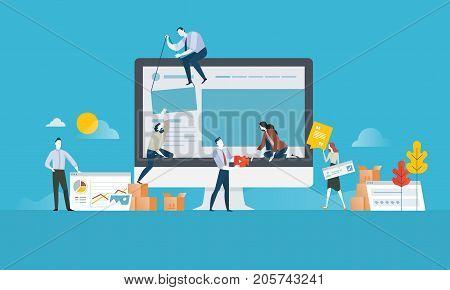 Web design. Flat design concept for website and app design and development. Vector illustration concept for web banner, business presentation, advertising material.
