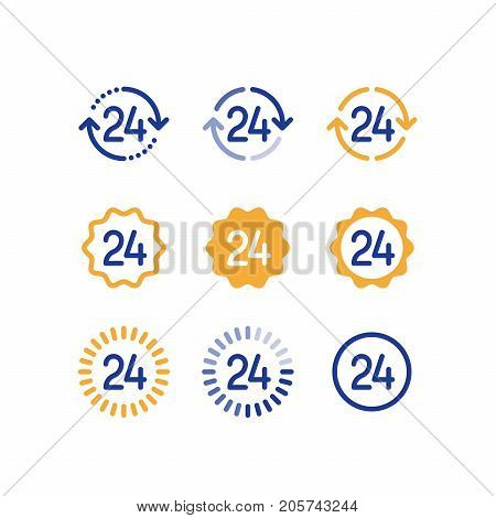 Open hours symbol, 24 hour work, customer service time, twenty four number, vector line icons