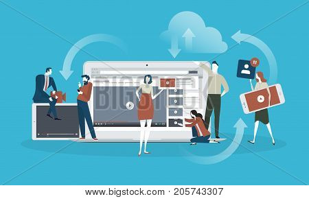 Video. Flat design concept for live streaming, movie, video marketing. Vector illustration concept for web banner, business presentation, advertising material.