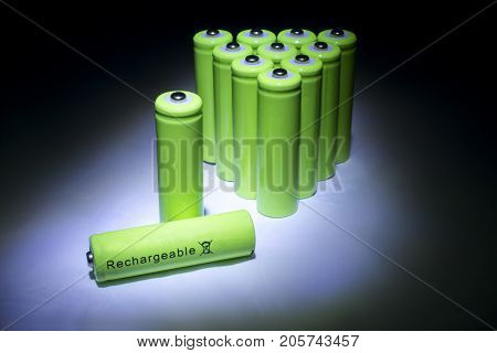 AA Sized Green Rechargeable Batteries on Display