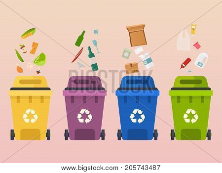 Recycle garbage bins. Waste types segregation recycling: organic paper glass waste. Flat design modern vector illustration concept.