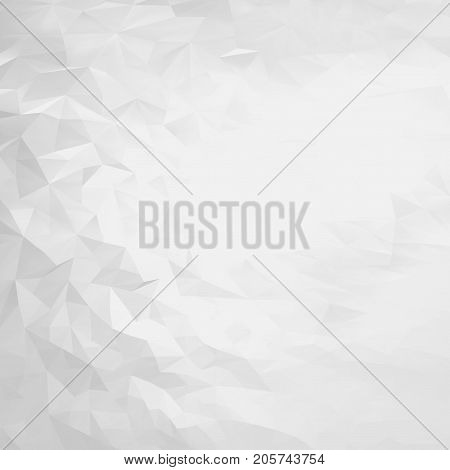 Abstract white and gray triangular polygon background. Light polygonal backdrop