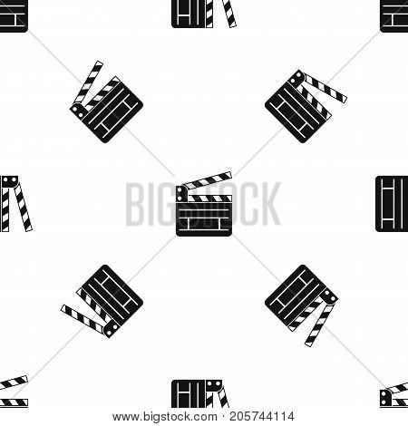 Clapperboard pattern repeat seamless in black color for any design. Vector geometric illustration