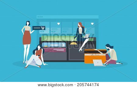 Online store. Flat design concept for shopping, e-commerce, online payment. Vector illustration concept for web banner and marketing material material.