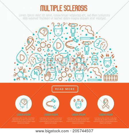 Multiple sclerosis concept in half circle with thin line icons of symptoms and treatments: disorientation, heredity, neuron myelin sheaths, vitamin D. Vector illustration for banner, web page.