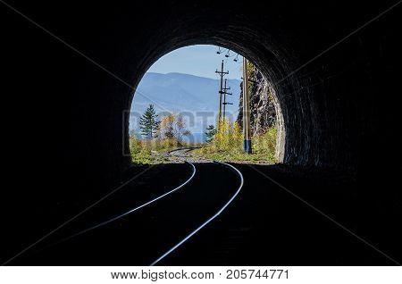 Autumn Circum-Baikal Railway on south lake Baikal. Russia