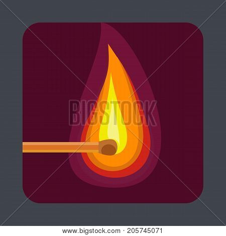 Flame of the match concept background. Cartoon illustration of flame of the match vector concept background for web design