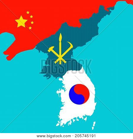 Map of the Korean Peninsula with the South and the North Korea symbols. Vector illustration