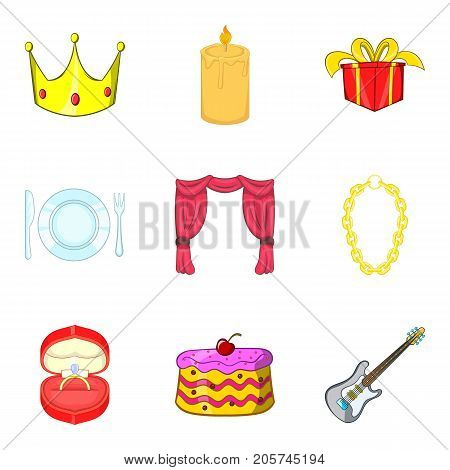 Engagement icons set. Cartoon set of 9 engagement vector icons for web isolated on white background