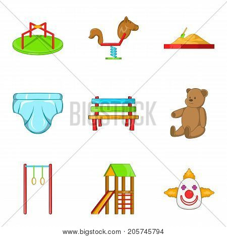 Great playground icons set. Cartoon set of 9 great playground vector icons for web isolated on white background