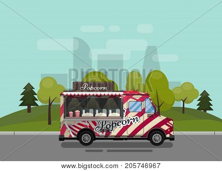 Popcorn cart, kiosk on wheels, retailers, sweets and confectionery products, and flat style isolated against the background of the city vector illustration. Snacks for your projects.