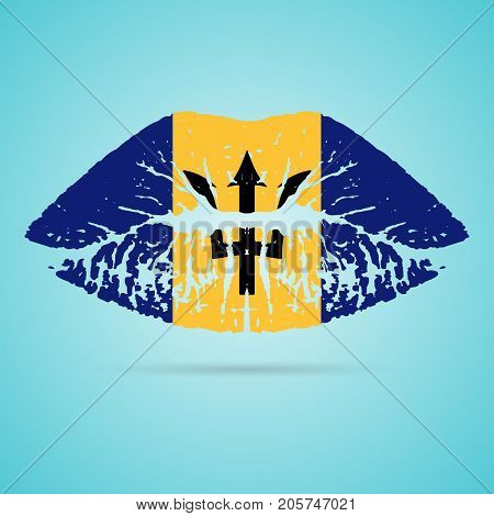 Barbados Flag Lipstick On The Lips Isolated On A White Background. Vector Illustration. Kiss Mark In Official Colors And Proportions. Independence Day