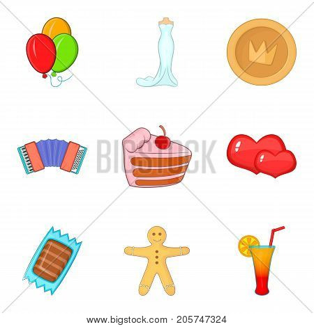 Betrothal icons set. Cartoon set of 9 betrothal vector icons for web isolated on white background