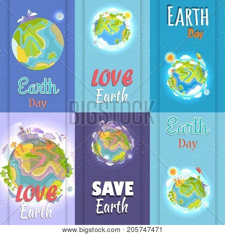 Love and save Earth day posters set. Planet with factory building, clouds and bright sun, silver moon, green plants and air crafts vector illustration.