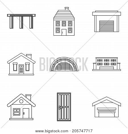 Exterior icons set. Outline set of 9 exterior vector icons for web isolated on white background