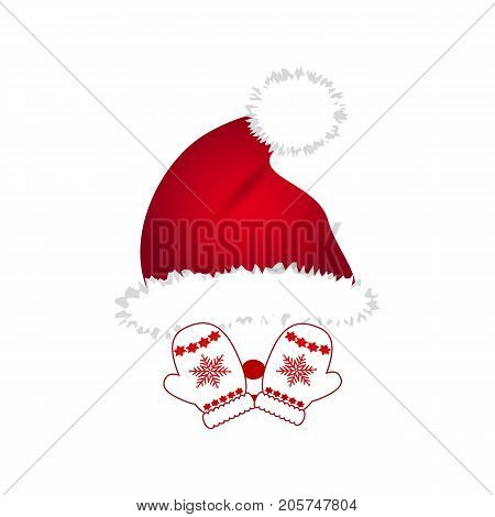 Santa hat mittens on a white background
