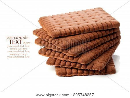 pure chocolate butter biscuits isolated on white background