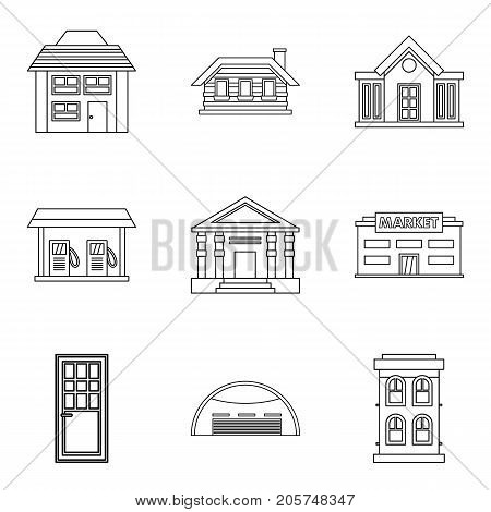 Exterior of building icons set. Outline set of 9 exterior of building vector icons for web isolated on white background