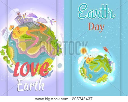 Earth Day Poster urging people to save environment. Vector illustration of planet affected by human activities in comparison with pristine nature