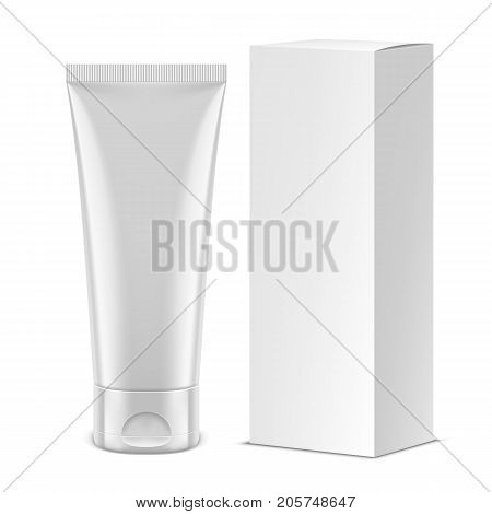 White tube for cosmetics, medicine, cream, gel, toothpaste and paper package. Product packaging mockup or template