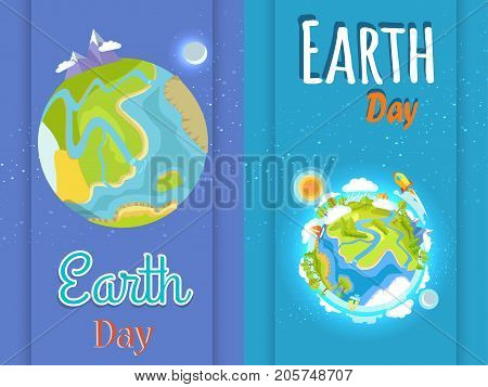 Earth Day posters set. Planet with high mountains, green plants, silver moon, bright sun, red sail, white clouds and space rocket vector illustration.