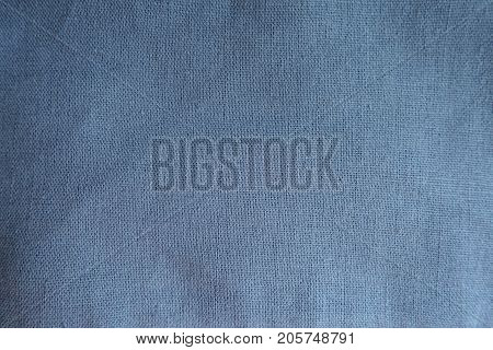 Subdued Blue Linen Fabric Surface From Above