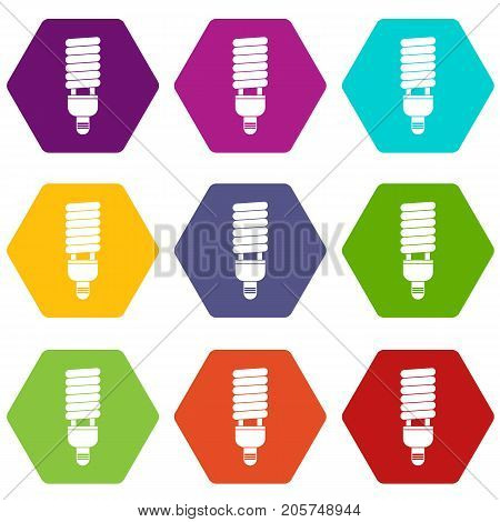 Fluorescent bulb icon set many color hexahedron isolated on white vector illustration