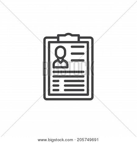 Curriculum line icon, outline vector sign, linear style pictogram isolated on white. Symbol, logo illustration. Editable stroke