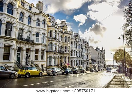 ISLE OF MAN, DOUGLAS - OCTOBER 22: Beautiful city of Douglas after the rain in the evening in the Isle of Man