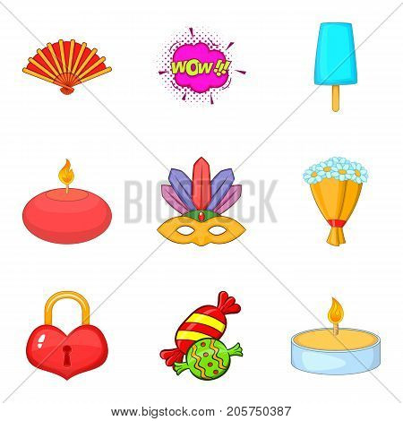 Memorable event icons set. Cartoon set of 9 memorable event vector icons for web isolated on white background