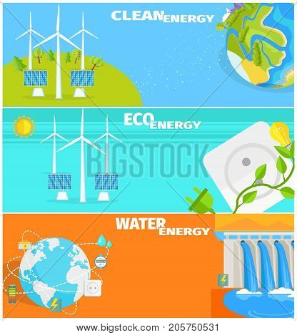 Clean eco water and wind energy vector illustrations. Natural ways to obtain energy from Earth resources without pollution.