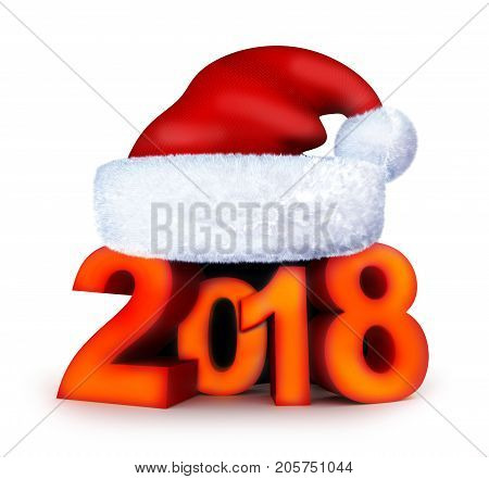 New year 2018 and santa cap. 3d illustration
