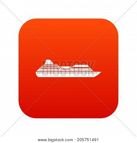 Cruise liner icon digital red for any design isolated on white vector illustration