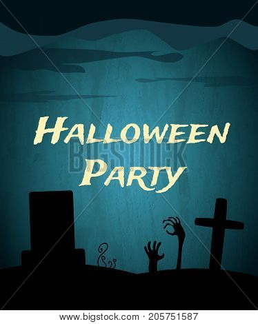 Halloween Party Background With Creepy Graveyard And Dead Hands