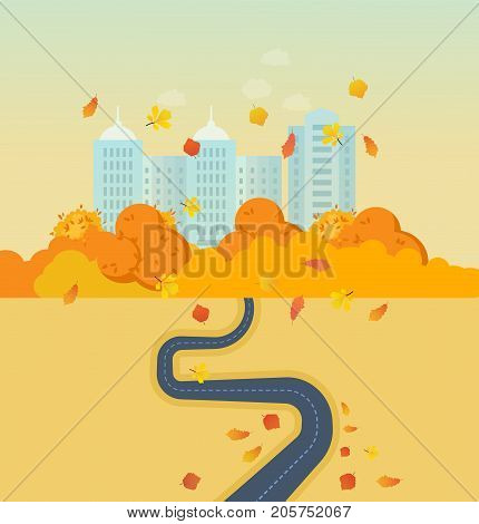 Autumn park and city, high buildings, landscape, trees, leaves and street. Path and travel, car journey, road top view with dotted line. Traffic map of asphalt street. Vector illustration.