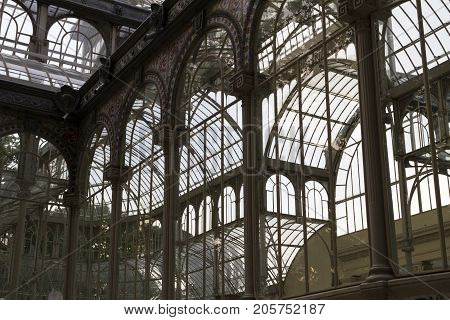 Details Of Crystal Palace (palacio De Cristal) In Retiro Park, Madrid, Spain.